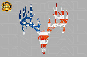 Deer Skull Non typical Buck American Flag Usa Decal Car Truck Window Sticker