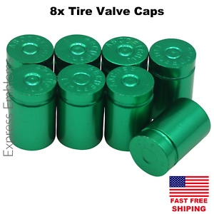 8pcs Tire Valve Cap Stem Cover For 2 Vehicles Green Bullet Shell Style
