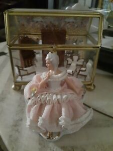 German Dresden Porcelain Pink Lace Queen Antoinette Miniature Lady Figurine 3 In