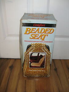 Vtg Comfort Car Seat Cover Posture Beaded Massage Cushion Real Wood Beads Box