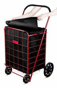 Black Jumbo Shopping Cart Liner With Top Lid Cover shopping Cart Not Included