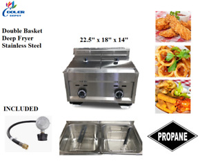 Double Bin Deep Fryer Stainless Steel Two Basket Propane Regulator