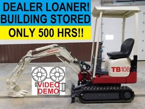 2013 Takeuchi Tb108 Dealer Loaner Compact Track Hoe Mini Excavator Only 500 Hrs