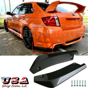 Glossy Black Rear Bumper Canards Splitter Diffuser Spoiler Lip For Subaru Wrx