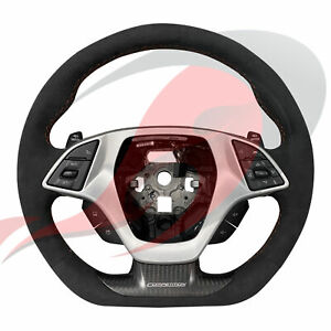 2014 2019 C7 Corvette Manual Suede D shaped Steering Wheel Red Stitching