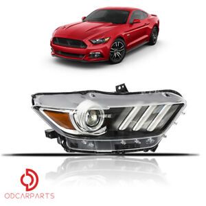 Fit 2015 2017 Ford Mustang Headlight Hid Led Tube Projector Passenger Right Side