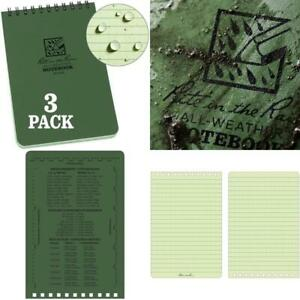 Rite In The Rain Weatherproof Top Spiral Notebook 4 X 6 Green Cover Univers