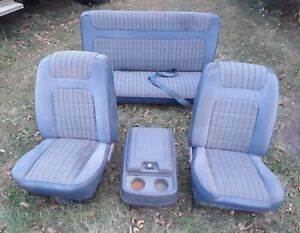 80 86 Bronco Low Back Bucket Seats Set Console Blue With Mounts Brackets 78 79