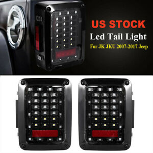 Pair Led Tail Lights Clear Lens Rear Lamp For Jeep Wrangler Jk Jku 2007 2018