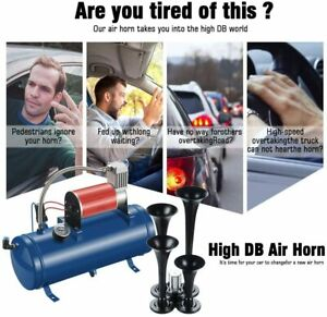 Train Horn Kit For Truck Car Semi Loud System 1 5g Air Tank 150psi 4 Trumpets