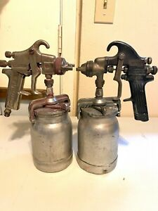 Binks Model 18 Sharpe 971 Pressure Auto Body Paint Spray Guns W Canisters