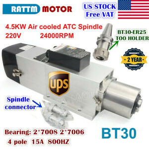 us 4 5kw Bt30 Atc Automatic Tool Change Air Cooled Spindle Motor 24000rpm 220v