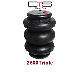 One Triple Bellow 2600 Air Bag 1 2 Npt Single Port Ride Springs Bags Suspension
