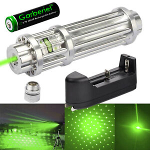 Aluminum 532nm Green Laser Pointer Pen Zoom Visible Beam Light 1865o Charger