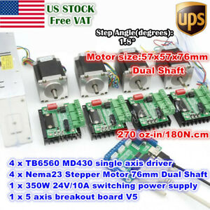 us 4axis Nema23 76mm Stepper Motor Dual Shaft md430 Driver Cnc Control 350w 24v