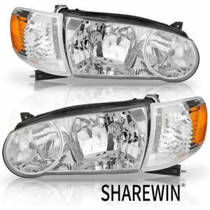 Fit For 2001 2002 Toyota Corolla Chrome Headlights Truck Clear Lens Left Right