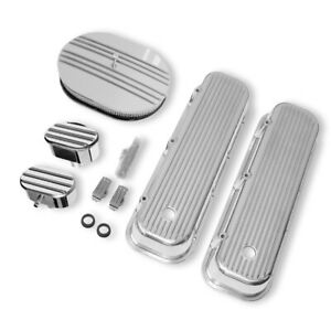 For 65 95 Bbc Chevy Finned Valve Covers Half Finned Air Cleaner Breather Pcv