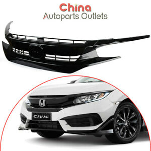 W Chrom Emblem Gloss Black Pack Grille Front Grill Fits Honda Civic 10 Gen 2016