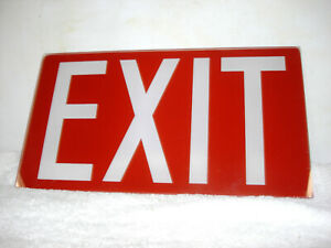 Vintage Red Glass Exit Sign 12 x 6 75 1 4 Thick