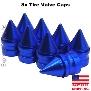 8x Spike Tire Valve Stem Caps For Car Truck Universal Fitting Blue