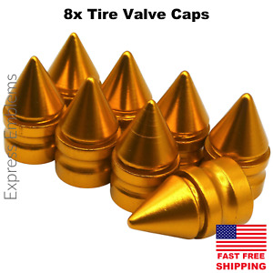 8x Spike Tire Valve Stem Caps For Car Truck Universal Fitting Yellow Gold