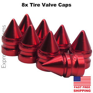 8x Spike Tire Valve Stem Caps For Car Truck Universal Fitting red