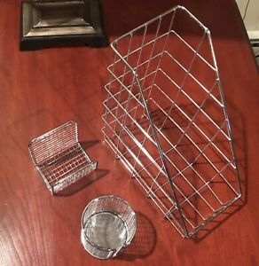 Desk Set Pencil Paper Book Holder Chrome Wire Silver