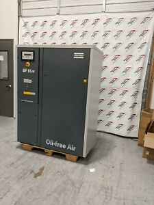 Used Atlas Copco 15 Hp Oil less Scroll Air Compressor 460 Volt Low Hours