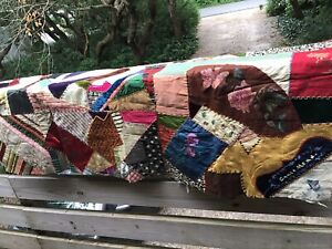 Vintage Antique Handmade Crazy Patchwork Throw Blanket Grace Mead 57 X 34