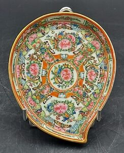 Vintage Chinese Cantonese Famille Rose Peach Shaped Plate L 6 3 16 Cm Xxthc