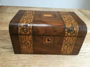 Victorian Box With Tunbridge Ware Marquetry Panels