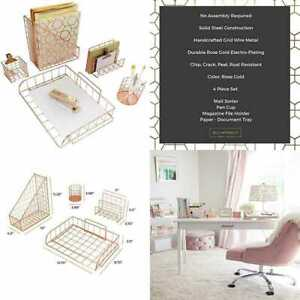 Office Supplies Rose Gold Desk Accessories For Women 5 Pc Wire Organizer Set Let