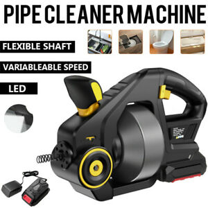 Drain Auger Machine Snake Sink Clog Cleaner 25 ft Autofeed 18v Lithium ion