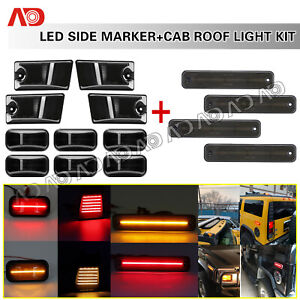 For 2003 2009 Hummer H2 14pcs Led Cab Roof Running Light Side Marker Lamp Smoked