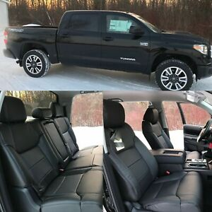 2014 2018 Toyota Tundra Crewmax Black Leather Seat Covers Kit 2015 2016