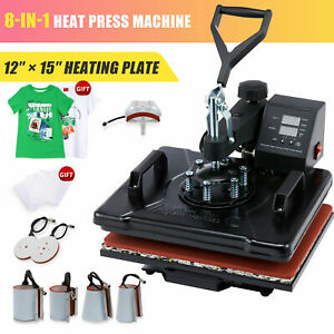 12x15 8 in 1 T shirt Heat Press Machine For Shirt Mask Ceramic Tiles Cup More