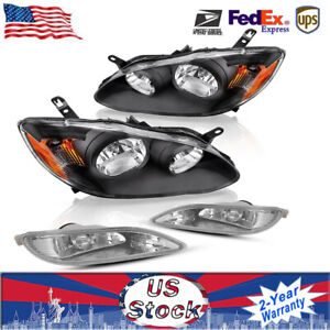For Toyota Corolla 2005 2008 Black Headlights Clear Driving Fog Lamps Set