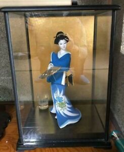 Vintage Japanese Geisha Doll Porcelain In Kimono 15 40 Cm In Glass Case Blue