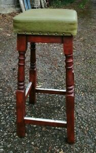 Beautiful Old Solid Oak Bar Stool Partially Restored Finished In Mahogany