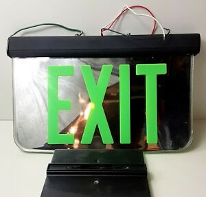 Dual Lite Double Faced Mirrored Exit Sign Green