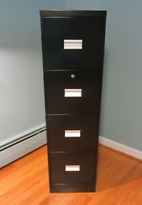 File Cabinet Vertical 4 Drawers W Followers Sturdy Black Metal Local Pick Up ct