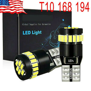 Isincer T10 Led License Plate Light Bulbs Can bus Bright White 168 2825 194 2pcs