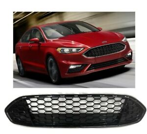 For 2013 2016 Ford Fusion Grille Front Gloss Black Trim Honeycomb Mesh Grill