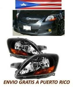 For 07 12 Toyota Yaris Headlight Black Housing Jdm Pair Set Left Right Headlamp
