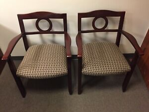 Pair Of Office Guest Chairs Burgundy Cream Fabric Brown Wood Frame Lot 2