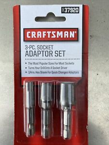 Craftsman 37920 Hex To Square Socket Adapter Adaptor Set 3 Pc 1 4 3 8 1 2