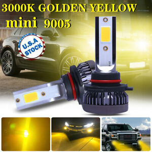 2x 9005 9145 9140 Mini Yellow 3000k Cob Led Headlight High Low Beam Fog Bulbs