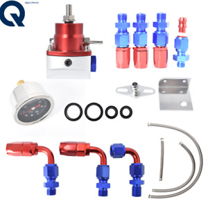 Universal Red Adjustable Fuel Pressure Regulator Kit 100psi Guage An6 Fitting