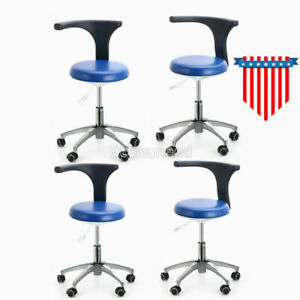 4x Dental Doctor Assistant Stool Mobile Chair Adjustable Medical Pu Leather