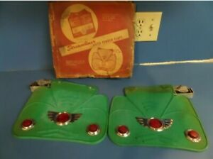 Nos Green Streamliner Auto Fender Flaps Red Jewel Mud Chevy Gm Accessory 40s 50s
